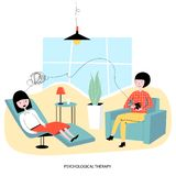 Psychological concept - a woman sits in the chair of a psychologist and talks about her mental problems. Vector illustration.  royalty free illustration