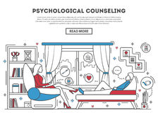 Psychological counseling website template. Vector illustration. Psychologist with patient on sofa. Therapy session in line art style. Mental problem and stress Royalty Free Stock Image