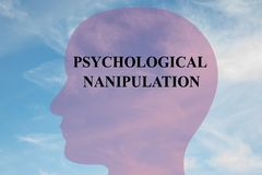 Psychological Manipulation - mental concept. Render illustration of PSYCHOLOGICAL NANIPULATION title on head silhouette, with cloudy sky as a background vector illustration