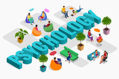 Psychological therapy concept. Coach and support group in individual during psychological therapy. Flat isometric vector. Illustration Royalty Free Stock Image