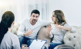 Nice emotional couple expressing their feelings Stock Photos