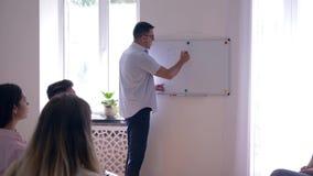 Psychologiczny szkolenie, psycholog mówi z grupą ludzi i pisze słowie - problemy na blackboard zdjęcie wideo