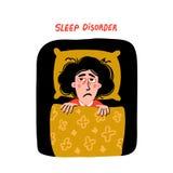 psychologie Slaapwanorde Vrouwenkarakter met slapeloosheid in bed Slapeloze vrouwelijke persoon met vermoeid droefheidsgezicht en stock illustratie