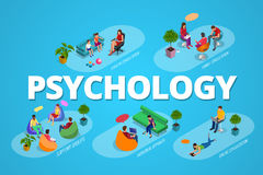 Psychologisch therapieconcept Bus en steungroep in individu tijdens psychologische therapie Vlakke isometrische vector Royalty-vrije Stock Foto