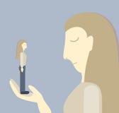 Psychologische illustratie Droevige meisjesholding in de hand zelf depressie Kleine zelfachting Stock Fotografie