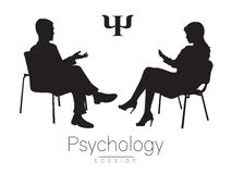 The psychologist and the client. Psychotherapy. Psycho therapeutic session. Psychological counseling. Man woman talking. While sitting.Silhouette. Black profile stock illustration
