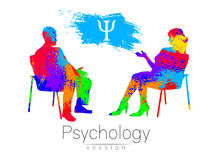 The psychologist and the client. Psychotherapy. Psycho therapeutic session. Psychological counseling. Man woman talking Royalty Free Stock Image