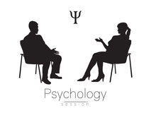 The psychologist and the client. Psychotherapy session. Psychological counseling. Man woman talking while sitting. Black color royalty free illustration