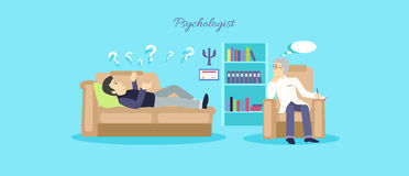Psychologist Concept Icon Flat Isolated. Mental psychology problem, health and psychiatrist, human mind, medical stress, people, issue talking, depression and Stock Photography