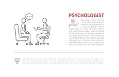 Psychologist, consultant vector line icon, sign,. Illustration on background, editable strokes royalty free illustration