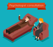 Psychologist consultation. Vector mental problems concept in 3D isometric style Royalty Free Stock Photography