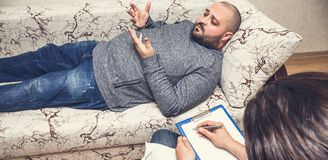 Psychologist consulting and psychological therapy session concept stock image