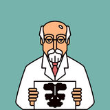 Psychologist. In glasses holding Rorschach Test stock illustration