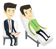 Psychologist having session with patient. Asian patient lying on sofa and talking about problems with psychotherapist or psychologist. Psychologist having royalty free illustration