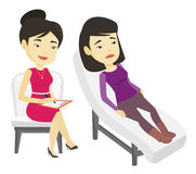 Psychologist having session with patient. Asian patient lying on sofa and talking about problems with psychotherapist or psychologist. Psychologist having stock illustration