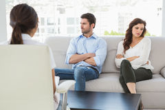 Psychologist helping a couple with relationship difficulties royalty free stock photo