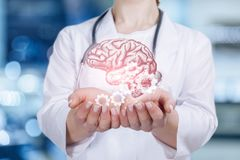 A psychologist is holding a mental health brain and cogwheel mechanism modal. A closeup of young doctor holding the brain image and cogwheel mechanism model in royalty free stock photo