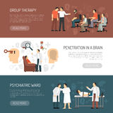 Psychologist Horizontal Banners stock illustration