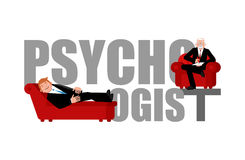 Psychologist lettering. Consultation of psychotherapist. Couch  Stock Photo