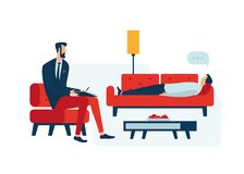 Psychologist. Mental health care stock illustration
