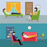 Psychologist office cabinet room vector Stock Images