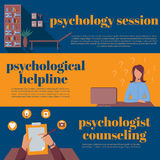Psychologist office for counseling, online psychotherapy helpline Stock Photography
