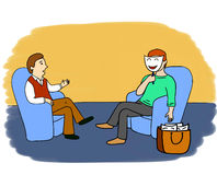 Psychologist's adventures 6. Illustration of a psychological session. People are sitting in blue chairs. Client is hiding his face and true emotions behind Stock Photo