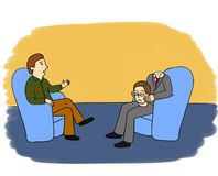 Psychologist's adventures. Part 4. Psychologist's cabinet: two men are sitting in blue chairs. A client is a headless man in grey suit. He holds his head on his Stock Photography