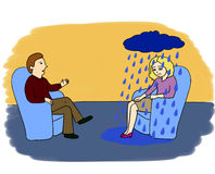 Psychologist's adventures. Part 2. Psychologist's or psychotherapist's session: man and woman are sitting in blue chairs. Client has a dark cloud raining Royalty Free Stock Photos