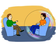 Psychologist's adventures. Part 1. Psychologist's or psychotherapist's session: two man are sitting in blue chairs. Client is in a bubble symbolisizing his Stock Photo