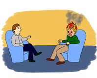 Psychologist's adventures. Part 3. Psychologist's or psychotherapist's session: two men are sitting in blue chairs. Client's head is on fire  symbolisizing his Stock Images