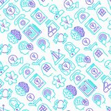 Psychologist seamless pattern with thin line icons stock illustration