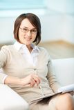 Psychologist. Vertical portrait of a successful psychologist or a businesswoman stock images