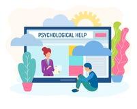 Psychologue en ligne, consultations et formations illustration de vecteur