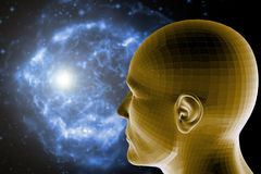 Psychology. Man head and a universe background, concept for psyche and science Royalty Free Stock Photo