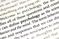 Psychology. A closeup of the word psychology in a book stock images