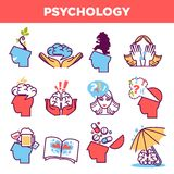 Psychology abstract symbols and conceptual vector isolated icons. Psychology abstract symbols set. Conceptual signs of human psychological state of mind, love or Stock Photography