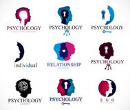 Psychology, brain and mental health vector conceptual icons or l Stock Photos