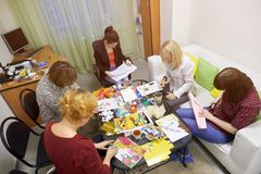 Psychology classes for a group of women using drawing techniques. Rostov-on-Don, Russia - October 1: Psychology classes for a group of women using drawing Royalty Free Stock Photo