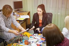 Psychology classes for a group of women using drawing techniques. Rostov-on-Don, Russia - October 1: Psychology classes for a group of women using drawing Stock Photography