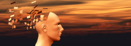 Psychology concept. Sunset and head of a man falling apart, psychology concept Stock Photos