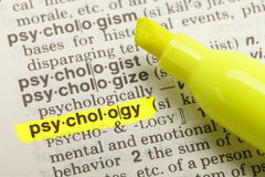 Psychology Definition. The Word Psychology Highlighted in Dictionary with Yellow Marker Highlighter Pen royalty free stock images