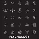 Psychology editable line icons vector set on black background. Psychology white outline illustrations, signs, symbols vector illustration