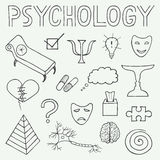 Psychology hand drawn doodle set and typography Stock Photos