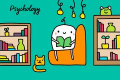 Psychology hand drawn vector illustration with cute cartoon men reading books