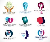 Psychology, human brain, psychoanalysis and psychotherapy, relationship and gender problems, personality and. Individuality, cerebral neurology, mental health stock illustration
