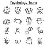 Psychology icon set in thin line style Stock Photos