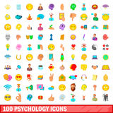 100 psychology icons set, cartoon style. 100 psychology icons set in cartoon style for any design vector illustration Stock Photos