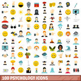 100 psychology icons set, flat style. 100 psychology icons set in flat style for any design vector illustration Stock Photos