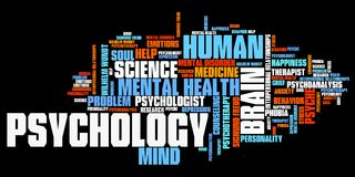 Psychology. Issues and concepts word cloud illustration. Word collage concept stock illustration